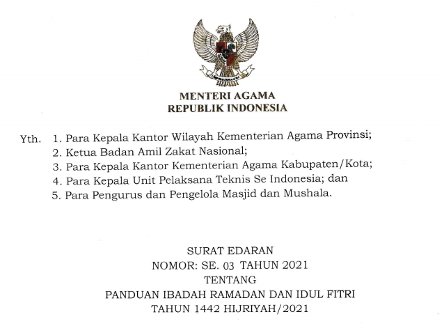 Panduan Resmi Ibadah Ramadhan dan Idul Fitri 2021 Kementerian Agama